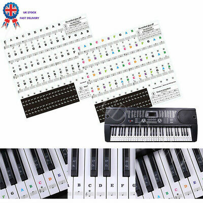 Piano Stickers Keyboard Music Note Chart Removable Decal 49, 54 ,61or 88 Keys UK
