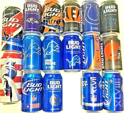 Bud Light assortment your choice of one or many NFL 12oz 16oz empty bottom open