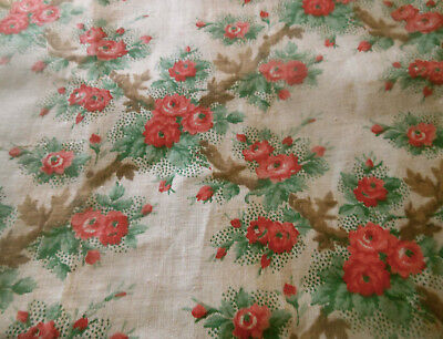 Antique French Cottage Roses Trellis Birds Cotton Fabric ~ Blue Berry Pink Moss