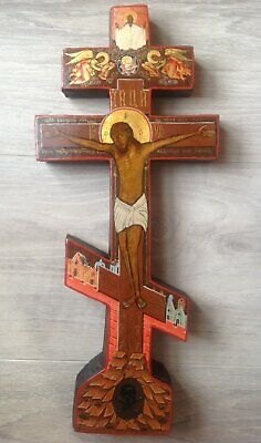 """Antique 19c Russian  Hand Painted Wood Icon """"crucifixion of Christ"""""""