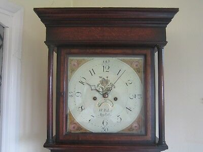 Restored by FBHI Antique 8 Day Painted Dial Grandfather Clock. Baker(Leic'shire)