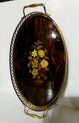 Vintage Italian Inlaid Marquetry Serving Tray. Brass Gallery Tray