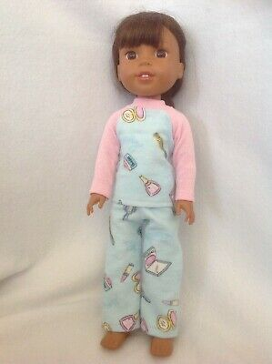 Wellie Wishers Pajamas pjs pants pink blue American Girl 14 doll clothes outfit