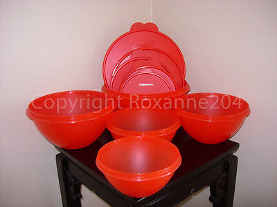Tupperware Wonderlier Bowls/Containers Set (5) **New/Red Fire**