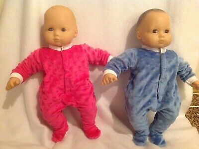 """Bitty Baby 15"""" doll clothes outfits twins girl boy pink blue sleeper pajamas pjs"""