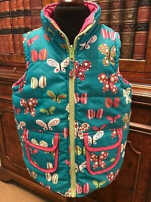 Girls' Hatley Pink & Turquoise Butterfly Reversible Bodywarmer Gilet - Age 5
