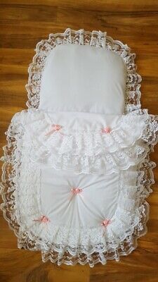 White pink dolls pram set to fit smalll silver cross prams pioneer/surf