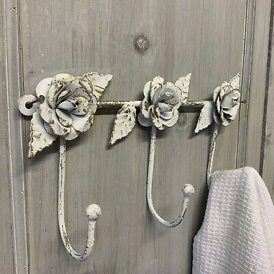 Triple Wall Hook Rose Antique Chic White Gold Metal Wall Bathroom Bedroom Shabby