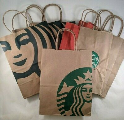 Lot of 6 Starbucks Shopping Gift Bags 2018 Reusable Brown Red Green Paper 8x10x4