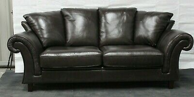 Tremendous Violino 3 Seater Brown Leather Sofa With Scatter Back Machost Co Dining Chair Design Ideas Machostcouk