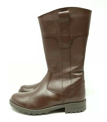 M&S Kids / Girls Brown Faux Leather Knee Boots UK 4 EU 37 Smart