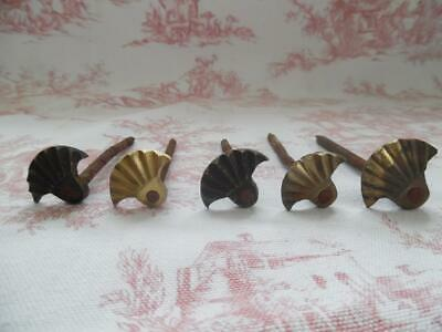BATCH OF 5 GENUINE ANTIQUE FRENCH DECORATIVE NAILS - Large Heavy Duty