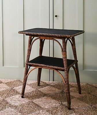 Stylish Late 19th Century Bamboo Rattan Wicker Brass Lamp Hall Bed Side Table