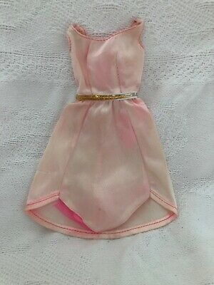 Vintage Barbie Doll Clothes Outfit PINK SATIN DRESS For GROWIN PRETTY HAIR