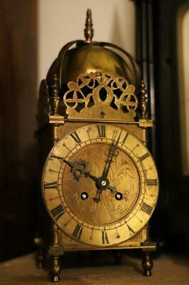 LARGE ANTIQUE LANTERN or NELL GWYNN CLOCK with  BELL STRIKE working order