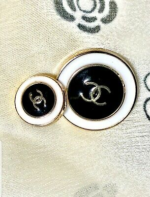 1 Chanel Button CC Logo .5 inch 12 mm RARE Gold Metal Black White Earrings