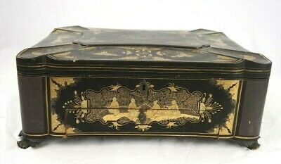 Antique Chinese Footed 19th Century Highly Decorated Sewing Box 15.25 x11.25 x 6
