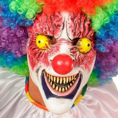 Tueur Masque Latex Clown Souriant Blanc Dents Effrayant