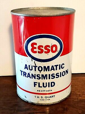 ESSO ATF AUTOMATIC TRANMISSION FLUID CAN 1 U.S. QUART MID Oil Can Tin Can