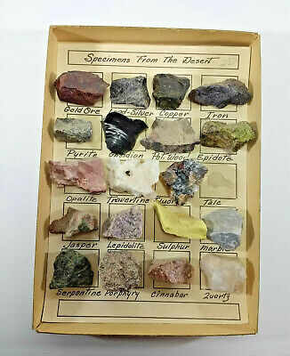 """1960's Set of 19  """"Specimens From the Desert"""" Minerals. Rock Collection"""