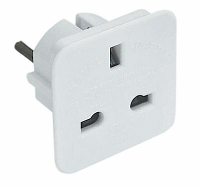 All UK To EU Euro Europe European Travel Adapter Power Plug Convert 3 TO 2 Pin