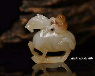 5.3cm collect China natural HeTian Jade Hand carved Animal Horse Pendant AWSB