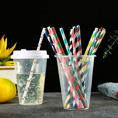 25Pcs Biodegradable Paper Drinking Straws Bulk for Juice Cocktail Smoothies HJH