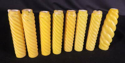 1870-80's Set of 8 Yellow Cased Satin Glass Ribbed Swirl Gas Candles