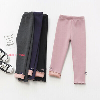 Kids Girls Thermal Cotton Leggings Fleece Lined Pant Stretchy Thick Warm Trouser