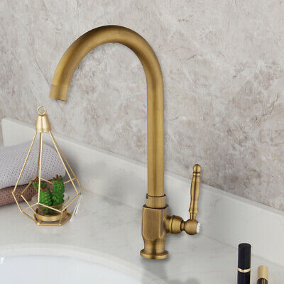 Antique Brass Bath/Kitchen Faucet Swivel Spout Single Handle Tap Only Cold Water
