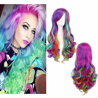 Women's Long Hair Wig Curly Wavy Cosplay Party Fancy Dress Colorful Full Wigs