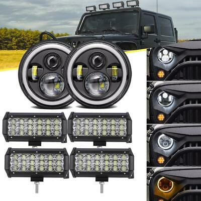 "7 Inch LED Headlights Hi-Lo Halo + 7"" Light Bar Flood For Jeep Wrangler JK LJ TJ"