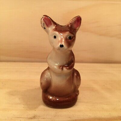 "KANGAROO JOEY ""Brown"" Mini Ornamental Salt Shaker Dispenser Figural Ornament"