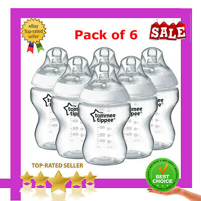 Tommee Tippee Closer To Nature Clear Baby Feeding Bottles 260 Ml 6 Pack UK