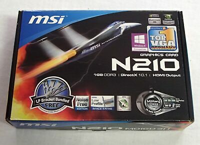 MSI N210 Graphics Card Box Software CD Brackets Manuals ONLY NO CARD