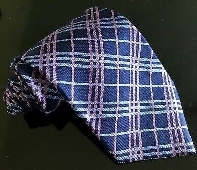 Men's Tie Pierre Cardin 100% Silk Blue Pink checked Striped Design Necktie