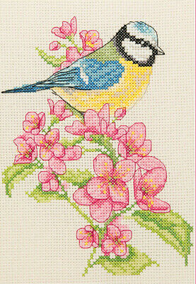 Anchor ~ Counted Cross Stitch Kit ~ Starter ~ Blue Tit and Blossom ~ AK135