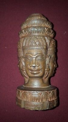 Antique wooden three face carving - style seems to be Thai