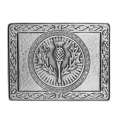 Wallace Thistle Antique Silver Plated Kilt Belt Buckle - Very Sturdy Buckle