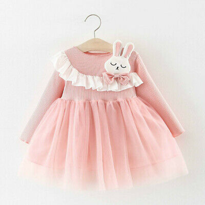 Toddler Baby Kids Girls Cartoon Rabbit Patchwork Tulle Dress Casual Clothes Cute