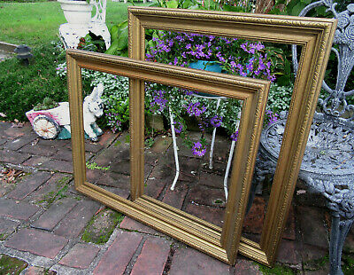 """Pair Of Large Vintage Ornate Wooden Picture Frames Gold Paint Carved Edge 20X26"""""""
