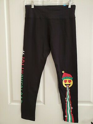 Justice for Girls Black Holiday Leggings Jolly Overload Emoji Size 20 Reg NWT!