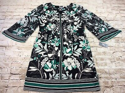 JM Collection Womens Dress XL Green Floral Embellished Lace Up Wide Sleeves New
