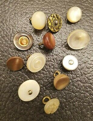 12 Vintage Mop Shell Vest Style Buttons Carved, Thick, Ball, Victorian