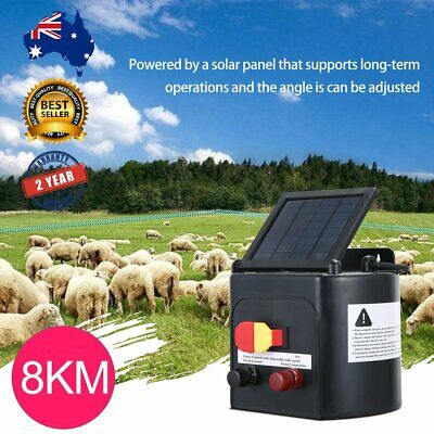 8km Solar Electric Fence Energiser Energizer Battery Charger Cattle Horse HOT!