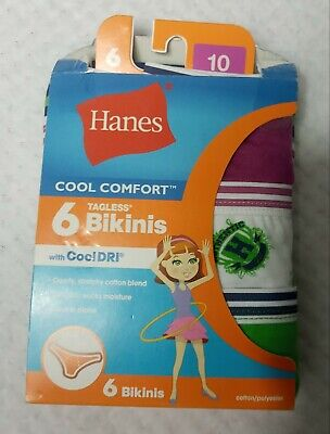 Girls Lot/Bundle 6 Pk Hanes Bikinis Panties Underwear 10~Champion Socks 3 Pair