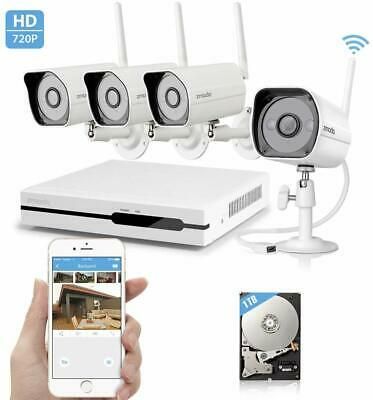 Zmodo Wireless Indoor Outdoor Smart Home Security Camera 4CH NVR System 1TB HDD