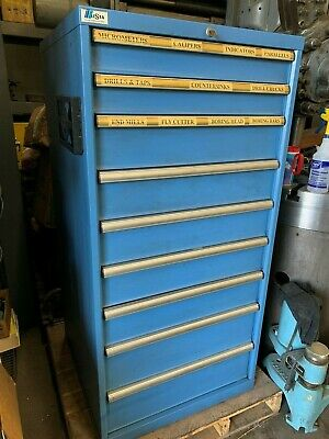 """Lista 9 Drawer Cabinet 57"""" High Full Of Endmills, Drills, Inspection Tools, Etc."""