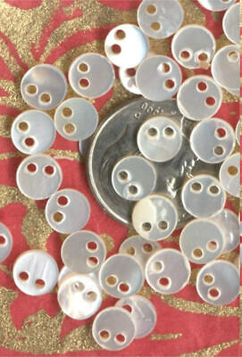 20 VINTAGE micro MOP MOTHER of PEARL BEADS Doll BUTTONS 1940's Doll Teddy Bear