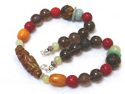 Chinese Vintage Carved Jade, Smoky Quartz Sterling Silver Beads Necklace, 159G